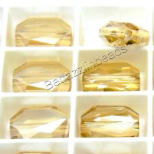 6 Golden Shadow 12mm x 10mm Swarovski Faceted Graphic Rectangle Beads 5520