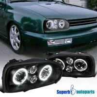 For 1993-1998 Golf MK3 Dual Halo Projector Headlight Black Lamp