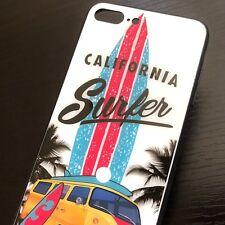 iPhone 7+ Plus / 8+ Plus - Hard Rubber GLASS Finish Case California Surfer Van