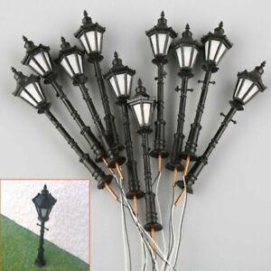 10Pcs 1:75 OO Scale Model Railway 3V LED Lamppost Lamps Street Lights Black