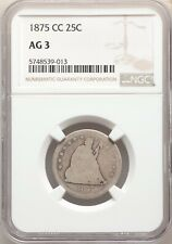 1875-CC NGC AG03 Rare CC Date Liberty Seated Quarter 140K Mintage AG3 About Good