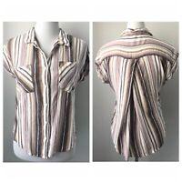 *Harper* Top Shirt Button Front Drape Back Purple Stripes Sz S Short Sleeve
