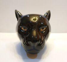 Black Tiger Panther Head Figurine Vase Pot Ceramic Succulent Flower Home Decor