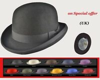 Unisex Bowler top Hat made from Supreme Quality Wool Felt - Many Colours - UK