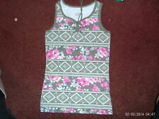 justice - girls size 14  lace up  tank top--olive green flower print-- nwt