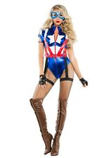 WOMEN'S CAPTAIN USA COSTUME SIZE SMALL (with defect on star)