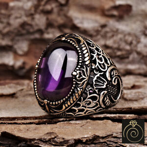 Men Amethyst Stone Occult Signet Ring Vintage Silver Muslim Turkish Guy Jewelry