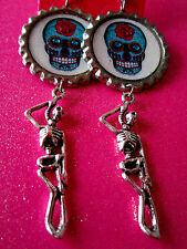 Day Of The Dead Sugar Skull With Skeleton Dangle Charm Earrings #27
