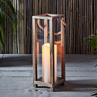 Wooden Battery Operated Indoor LED Flameless Candle Lantern With Timer