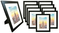Frame Amo 9x12 Black Wood Picture Frame with White Mat for 6x8, Glass Front
