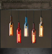 Loft Wine Bottle Glass Nordic Art Ceiling Droplight Pendant Light With Free Bulb
