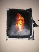 Handmade Buddha Head Painting On Textured Board. 31cm H x 21.5cm W.