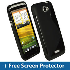 Negro Dual Tone Tpu Gel Funda Para Htc One X + Plus Android Cover Skin Soporte 1