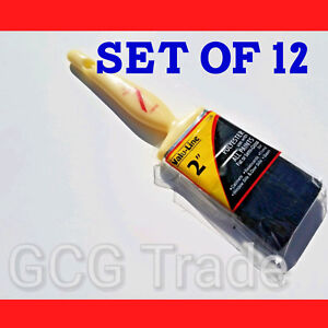 """12 of 2 Inch Paint Brushes Economy Polyester Linzer All Tips of Paints Size 2"""""""