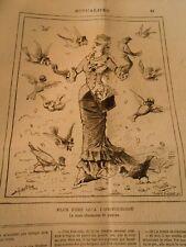 Caricature 1880 - Plus fort qu'a l'hippodrome La Vraie charmeuse de Pigeons