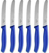 Victorinox Swiss Army 6 Piece Steak Knives Round Tip Blue Handles 6.7332.6G NEW