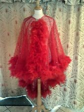 Drag Queen/Cabaret Red Cape with red feathers ONE SIZE