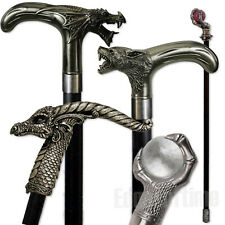 SWAGGERING CANE WALKING STICK FANTASY GOTHIC ROLE PLAY SKULL DRAGON FANCY DRESS