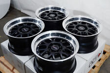 15x8 Wheels Honda Civic Mx-5 Miata Camry Celica Corolla Black Rims 5x100 5x114.3