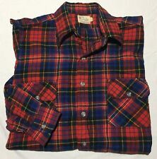 VTG Viyella by Tooke Red Blue Plaid Flannel Flap Pocket L/S Shirt - Mens S 15 34
