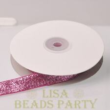 "10 Yards 5/8"" 16mm Sparkle Glitter Velvet Ribbon Sewing Wedding Rose Red"