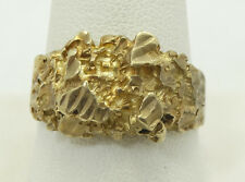 Bold 10K Yellow Gold Diamond Cut Gold Nugget Style Ring Size 10.75 A3044