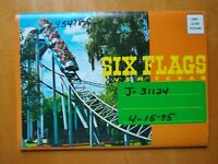 SIX FLAGS OVER TEXAS 4/1975 Roller Coaster Big Bend Mine Car 5x7 Souvenir folder