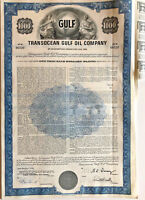 Transocean Gulf Oil Company > 1969 $1,000 bond certificate blue stock share
