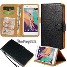 Black Flip Cover Stand Wallet Leather Case For Various HTC SmartPhones +Strap