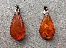 A Pair Of Vintage Amber & Sterling Silver Earrings