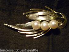 Vintage Japaneses Silver and Pearl Brooch - Modernist Spray Design