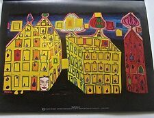 Friedensreich Hundertwasser Poster Yellow Houses it Hurts to Wait for Love 14x11