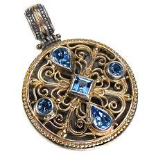 Gerochristo 3289~ Solid Gold, Silver & Blue Topaz ~ Medieval-Byzantine Pendant