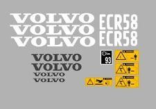 Volvo ECR58 Aufkleber Bagger Komplettset mit Sicherheit Warnung