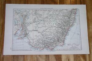 1896 ORIGINAL ANTIQUE MAP OF NEW SOUTH WALES VICTORIA SYDNEY MELBOURNE AUSTRALIA