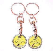 2 Pack No 1 Mum One Pound Coin Token Keyring Shopping Trolley Keyring