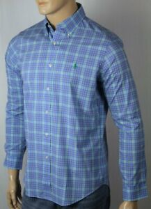 Ralph Lauren Blue Plaid Classic Long Sleeve Dress Shirt Green Pony NWT