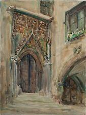 Unbekannt - Gotisches Portal (Rathaus Regensburg) - Aquarell - o.J.