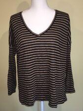 Zara Trafaluc Shirt Black Brown Striped Bat Wing V Neck Long Sleeve Small
