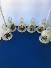 6 Norman Rockwell Danbury Mint Ceramic Bells 1979 Germany 5.5�x3.5�