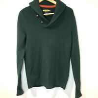 Ralph Lauren Rugby Shetland Wool Fitted Shawl Sweater Men's Small Hunter Green
