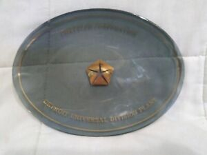 Vintage Chrysler Corporation Smoked Glass Trinket Dish Detroit Plant