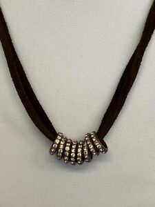 Retired JOAN RIVERS~8-Piece Crystal Charm Slides on 3-Strand Brown Cord Necklace