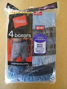 Hanes Mens Tagless Boxers Assorted Prints Style# 832BX4  4 Pack - S, M, L, XL