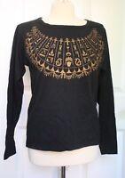 Sunbelt Women's L Hieroglyphic Shirt Black Cotton Long Sleeve Graphic Tee USA