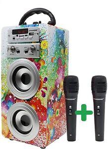 DYNASONIC - Altavoz Bluetooth Portatil Karaoke con Micrófonos E-025-01