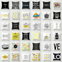 "Black White Letter Polyester Pillow Case Sofa Throw Cushion Cover Home Decor 18"""