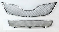 Front Bumper Upper & Lower Mesh Chrome Grille Assembly For Toyota Camry 10-11
