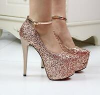 Women's Sexy Sequins Nightclub Shoes Ankle Strap Platform High Heel Shoes Party