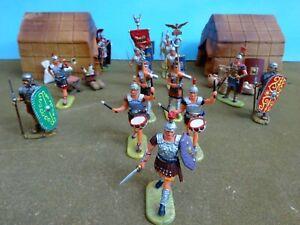Elastolin/Hausser+ 70mm Roman camp scene 16 figs & accessories plastic used oop